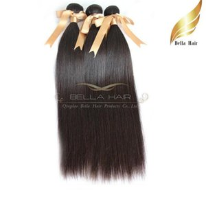8A 100% Brazilian Virgin Hair Extensions Natural Hair 3pcs lot Straight Hair Weaves Double Weft DHL Natural color Bellahair