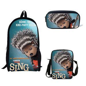 3PS / Set ранцы мультфильм Sing печати Школа Учиться в России Bagpack для девочек-подростков мальчиков ноутбуков Рюкзаки