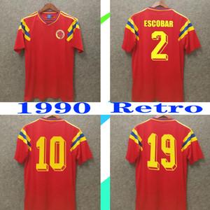 colombia 1990 camisa de futebol retro # 10 Valderrama # 9 Guerrero antigo Coleção afastado vermelho clássico comemorar vintage camisa de futebol