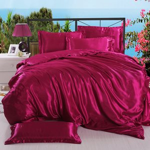 Tencel Soft Bed Linens Imitated Silk Duvet Cover+Flat Sheet+Pillowcase Comfortable Bedding Cover Set Twin Queen King 3-4PCS