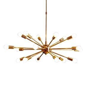 Moderno Latón Sputnik Golden iron Chandeliers E27 18 Armas Lámpara Para sala de estar del hotel sala de exposiciones Iluminación del hogar NO1