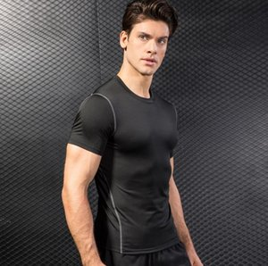 Athletic apparel manufacturers short sleeve elastic solid color tshirts breathable mens quick dry tshirt gym clothing