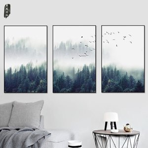 3Pcs set Nordic Landscape Canvas Painting Tree Wall Art Pictures Painting Wall Art for Living Room Home Decor (No Frame)