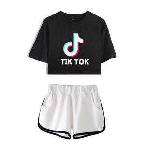 Tik Tok Imprimir Mens e manga curta Moda T-shirt Casual Womens Tees Verão Lazer Shorts duas peças Outfit