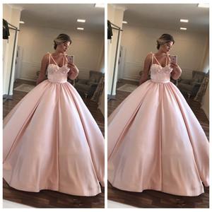 2020 Спагетти Полоски бальное платье платья Quinceanera Цветы Украшенный 16 Sweety Pink Vestidos De Пром партии мантий Customized Младшие