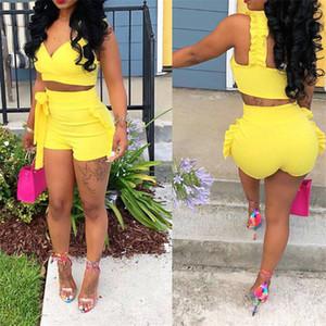 Two Piece Set 2019 mulheres Verão colheita tops cintura Shorts altos 2pcs Ruffles Bow roupas das senhoras Amarelo Magro combinando roupas sets
