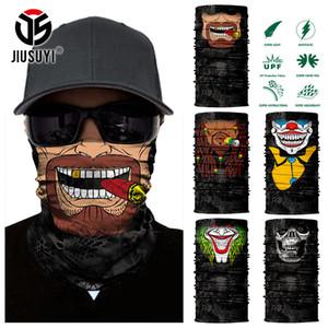 Esqueleto del cráneo 3D sin fisuras Cinta de cabeza Barba hombre Joker payaso del calentador del cuello de la media cara máscara de la cabeza de la bufanda del pañuelo de Protección Solar
