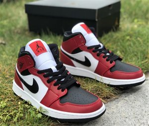2020 Nike air jordan retro neusten Freigabe Air 1 Mid Chicago Black Toe Basketballschuhe 1 Mid 554724-069 Frauen der Männer im Freien Trainer Sport Turnschuhe US 4-13 A12