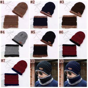Berretto cappello sciarpa set cappelli a maglia calda addensare inverno cappello invernale per uomini e donna unisex cotone berretto a maglia a maglia zza848