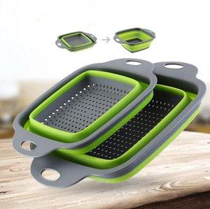 Ablassen Basket Faltbare Frucht-Gemüse-Waschkorb Sieb beweglicher Silikon Seiher zusammenklappbarer Drainer mit Griff Küchenhelfer YP424