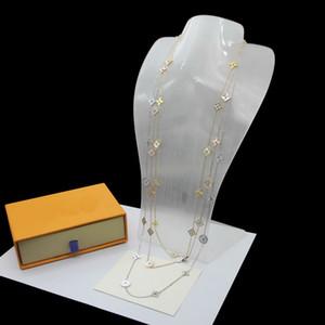 Европа Америка Стиль Леди Женщины титана стали V Инициалы длинное ожерелье свитер цепи С 11 Мотивы перламутр Малахитовый цветок Шарм