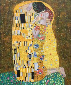 Yüksek kaliteli Gustav Klimt yağlıboya Öpücük güzellik kadın sanat odası dekor için El Boyalı Tuval sanat Çerçeveli asmak için hazır