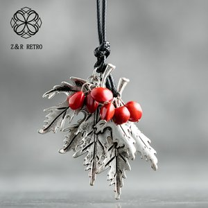ashion Jewelry Necklace 2019 Vintage Long Necklaces For Women And Men With Handmade Red Beans Retro Leaf Gift Leather Chain Pendant Neckl...