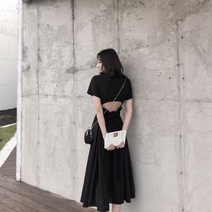 Etek Fransa Xiaozhong Platycodon grandiflorum Etek Lazy Rüzgar Seksi Lu Geri şifon Elbise 2019 The Very Peri