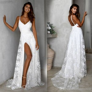 2020 Sexy White Spaghetti Strap Lace Dividir Party Dress Prom mangas longas vestidos de noiva Backless Ocasião Wears