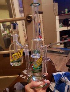 Käufer Show FLOW Logo Glas Bongs zufällige Schüssel Joint 14..4mm Asche Cather Glas Wasserpfeifen streuen perc Kostenloser Versand Wasserpfeifen