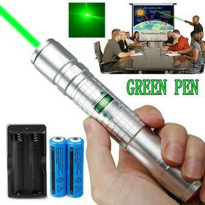 Серебряный Мощный 10Mile зеленая лазерная указка Pen 5mw 532nm Military лазерная ручка указателя Астрономии луч света + 2x18650 батареи + двойное зарядное