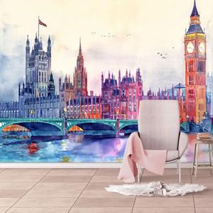 Avrupa Tarzı Suluboya Wallpaper 3D Şehir Kurma Resimleri Salon Televizyon Kanepe Yatak Odası Ev Dekorasyonu Duvar Papel De Parede Boyama