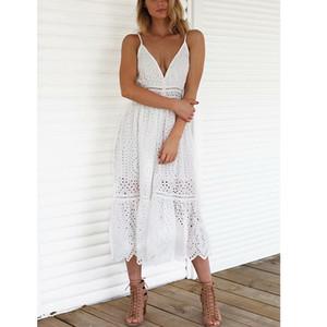 ORTIFREE 2019 Yaz Kadın Beyaz Dantel Uzun Elbise Spagetti Kayışı Nakış Seksi Maxi Tunik Plaj Elbise