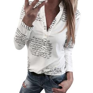 Женщины письма печати блузки мода дамы шикарный V шеи кнопка с длинным рукавом рубашки топы блузка blusas mujer де мода горячие продажи