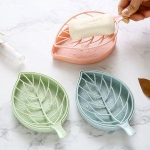 Forma de hoja Caja de jabón Caja Aseo Baño Organizador de suministros Titular Plástico Cubierta doble Ducha Jabones Platos de almacenamiento 0 88yh hh