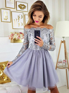 Off Shoulder Long Sleeves Graduation Party Dresses Cocktail 2019 Tulle Cheap Short Prom Dress Homecoming Cheap Plus Size