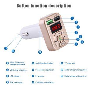 FM-Adapter A9 Bluetooth Auto-Ladegerät FM Transmitter mit Doppel-USB-Adapter Freisprecheinrichtung MP3-Player-Unterstützungs-TF-Karte für iPhone Samsung Universal
