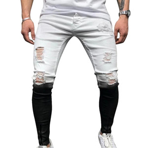 Erkek Yeni Jeans Skinny Dereceli Siyah Beyaz Delik Denim Pantalones Erkek Bilek Fermuar Kalem Pantolon Ripped