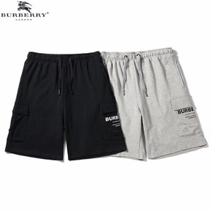 2019 summer new men's outdoor sports casual shorts simple solid color printing letters design loose version 702