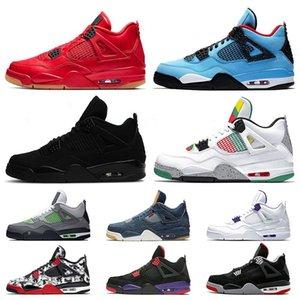Jumpman Cool Grey Travis Scotts 4 shoe 4s Mens Basketball shoes Raptors Bred 2019 Neon Fiba Retro Tattoo Singles Day Trainers Sports