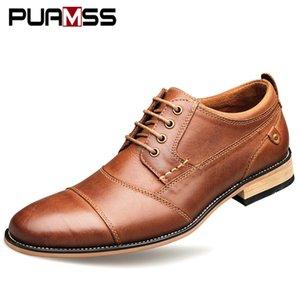 Uomini di marca di scarpe di alta qualità Oxfords British Style Scarpe Uomo vestito di cuoio genuini business scarpe formali degli appartamenti degli uomini più il formato 50 Y200106
