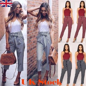 Gedruckt mit hohen Taille Drawstringentwurf Bleistift-Hosen-Mode Weibliche Kleidung Sommer-Frauen Unterhaltung Hosen Striped