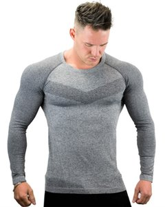 2019 gym New fashion Men's Bottom-setting exercise for men's long sleeve T-shirt and round collar gym Long Sleeve
