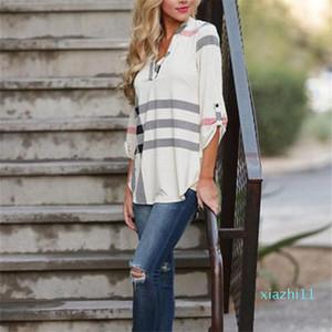 fashion-2020 New Women's Fashion Loose Long Sleeve Plaid Printed Shirt Tops
