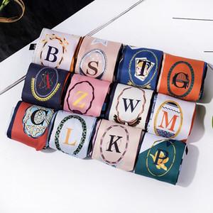 Письма Печать саржевого шелковый шарф женщин Роскошные дизайнерские сумки способа смычка ленточками волос оголовье Лето Женский Малый платках