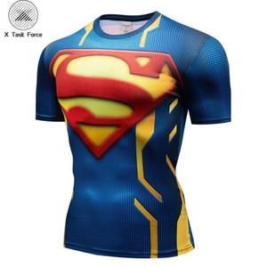 Superman manchon 3d compression t-shirt t-shirt à manches courtes haut du corps gymnase sport hommes chemise hommes encouragent super-héros tee
