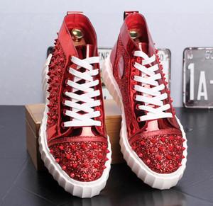 designer scarpe casual da uomo paillette rivetto alte cime rosso piattaforma scarpa scarpe da tavolo giovane maschio scarpe da ballo strada zapatos de caballero gb70