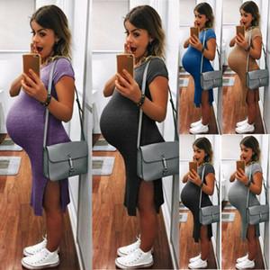 vestido maternidade fotografia Frauen Umstandskleid beiläufige Sommer-Baumwollfest Tages Partei Strand Wrap-Kleider für Fotosession