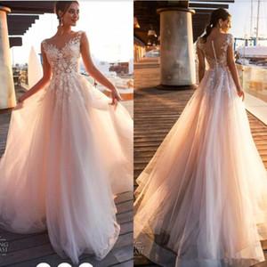 2020 Nova Sheer Pescoço da colher Tulle Botão Coberto Tulle longo nupcial do casamento Vestidos Beach Country Lace apliques de vestidos de casamento de linha