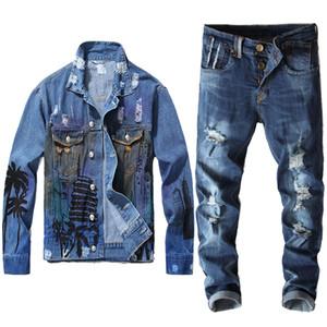 Four Seasons Vêtements Vente Automne chaud hommes Sets hommes Vintage Print Blue Jacket + Jeans 2PCS Ensembles Veste Casual Stretch Jeans