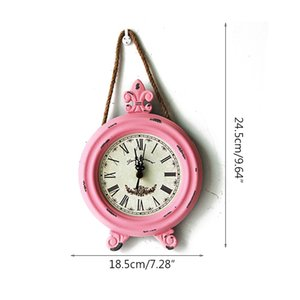 Antique Wooden Clock Quartz Clock Wooden Handicraft Home Wall Hanging Decoration Wall Rope Round Small