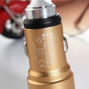Alta Segurança Qualidade Car Charger Dual USB 1A 2.4A Output Car Cellphone Charger liga de alumínio Mini Carregador de carro portátil