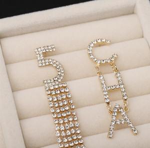 Fashion-S925 silver needle 2019 new diamond shiny stud earrings digital earrings letter exaggerated crystal tassel earrings