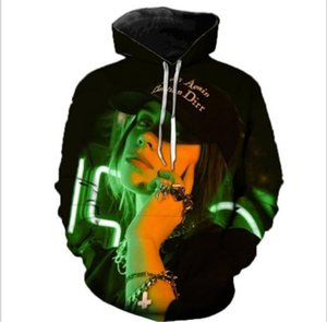 Billie Eilish Hoodies 3D Designer Cantor Impresso com capuz Tops solto pulôver Mens Zipper Clothing