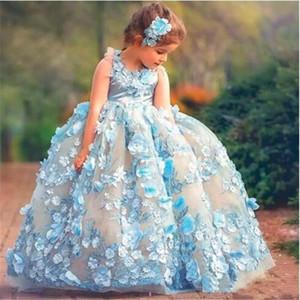 Fabulosa Sky-Blue Fairy chicas vestidos del desfile vestido de fiesta mullido con 3D aplicaciones florales hechos a mano de los vestidos de niña de las flores