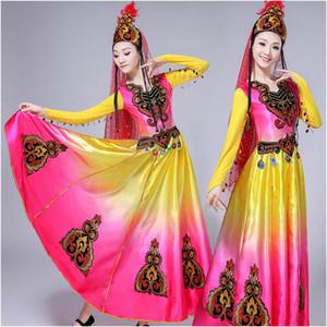Costume de danse ouïgoure costumes ethniques du Xinjiang carnaval fantaisie robe femmes adultes vêtements de scène pour chanteurs festival de spectacle folklorique vêtements