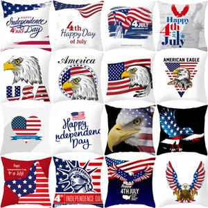 45 * 45 cm funda de almohada caliente American Home Decoración Día de la Independencia funda de almohada almohada del melocotón de la piel del sofá amortiguador de la cintura funda de almohada