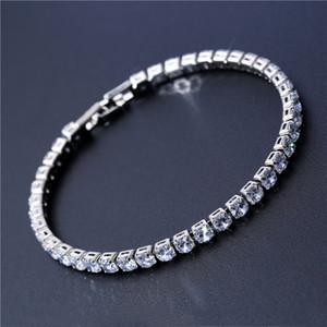 Lüks 4mm Kübik Zirkonya Tenis Bileklik Buzlu Out Zincir Kristal Düğün Bilezik Kadın Erkek Altın Gümüş Bilezik Takı