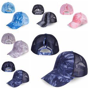 Pferdeschwanz Baseballmütze 5 Farben Big Kids Messy Bun Hats Acid Wash Snapbacks Entspannung Sun Visor Outdoor-Hut CCA12274 30pcs