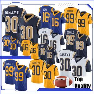 2020 nuevos 30 camisetas de fútbol Todd Gurley 99 Aaron Donald jerseys de 16 Jared Goff 32 Eric Weddle 2020 nuevos jerseys de calidad superior cosida nueva
